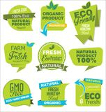 Modern ECO and NATURAL origami sale stickers and tags green collection. Modern ECO and NATURAL origami sale stickers and tags green set Royalty Free Stock Photography