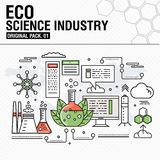 Modern eco science industry. Thin line icons set Stock Photo