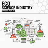 Modern eco science industry. Thin line icons set Royalty Free Stock Photo