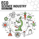 Modern eco science industry. Thin line icons set Stock Photography