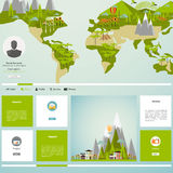 Modern Eco website template with flat eco Earth map illustration Royalty Free Stock Photo