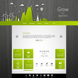Modern Eco website template with flat eco land illustration Royalty Free Stock Photos