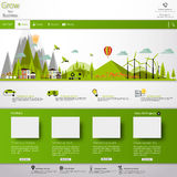 Modern Eco website template with flat eco landscape illustration Royalty Free Stock Images