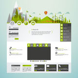Modern Eco website template with flat eco landscape illustration Stock Photography
