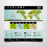Modern Eco website template with flat eco landscape illustration Royalty Free Stock Photo