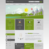 Modern Eco website template with flat eco landscape illustration Stock Images