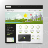 Modern Eco website template with flat eco landscape illustration Royalty Free Stock Photos