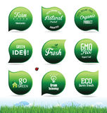 Modern ecology badges collection Royalty Free Stock Photo