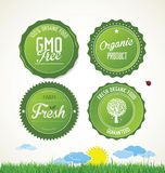 Modern ecology badges collection. Isolated on white background Stock Photo