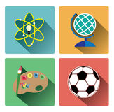 Modern education subject icons set Stock Image