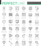 Modern education thin line web icons set. Online video training outline stroke icons design. Stock Photos