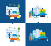 Modern education, training graphic design through video communications, online courses. Concept of illustration - modern education, training graphic design Royalty Free Stock Image