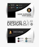 Modern eenvoudig adreskaartjemalplaatje met vlak gebruikersinterface Vector ontwerp Stock Fotografie