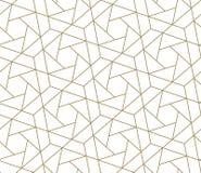 Modern eenvoudig geometrisch vector naadloos patroon met gouden lijntextuur op witte achtergrond Licht abstract behang royalty-vrije stock foto's