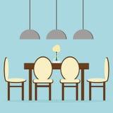 Modern eetkamer binnenlands ontwerp met lijst, stoelen en lampen Royalty-vrije Stock Afbeeldingen