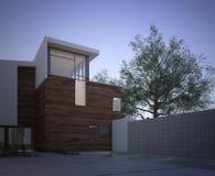 Modern eigentijds huis buiten bij dageraad vector illustratie