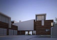 Modern eigentijds huis buiten bij dageraad royalty-vrije illustratie