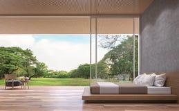 Modern eigentijds slaapkamer 3d teruggevend beeld vector illustratie