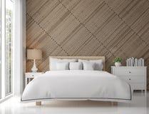 Modern eigentijds slaapkamerbinnenland met houten rooster 3d teruggevend beeld stock illustratie