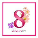 Modern eight and flowers Happy Women`s Day. Greeting card. Vector illustration for International Women`s Day Royalty Free Stock Image