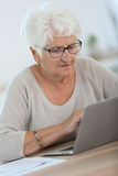 Modern elderly woman using laptop Royalty Free Stock Photo