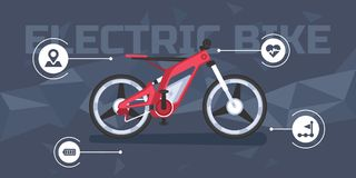 Modern electric bike infographic. Banner with a modern electric bike infographics for shop or web page stock illustration