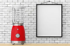 Modern Electric Blender in front of Brick Wall with Blank Frame. Modern Electric Blender in front of Brick Wall with Blank Frame extreme closeup. 3d Rendering Royalty Free Stock Images