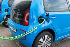 Modern electric car charging Royalty Free Stock Photography