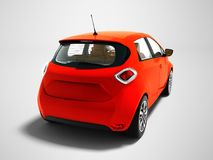 Modern electric car hatchback with brown salon for trips red wit stock illustration