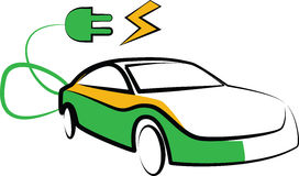 Modern electric car silhouette. electric car vector illustration Stock Photography