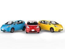 Modern electric cars in primary colors Stock Images