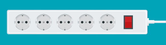Modern electric extension cord on a white background. Power outlet plug illustration. Stock Photos
