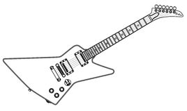 Modern Electric Guitar Outline Royalty Free Stock Images