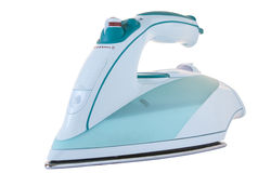 Modern electric iron horizontal. Modern electric iron with a corrosion-proof sole it is white - green color Royalty Free Stock Image