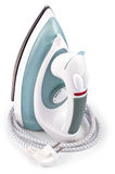 Modern electric iron with wire isolated on a white Stock Photography