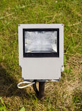 Modern electric lamp on city  park field Stock Photos