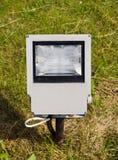 Modern electric lamp on city  park field Stock Photos