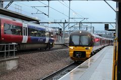 Modern electric multiple unit trains at Leeds Stock Photos