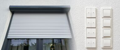 Free Modern Electric Roller Shutter On Window And Control Switches Stock Image - 205233801