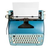 Old electric typewriter on white background. Modern electric typewriter on white background and isolated with path Stock Photo