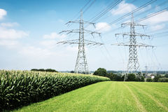 Modern electricity pylons Royalty Free Stock Images