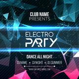 Modern Electro Party Template, Dance Party Flyer, brochure. Night Party Club Banner Poster. Modern Electro Party Template, Dance Party Flyer, brochure. Night Stock Photography