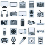 Modern electronic devices vector icons Stock Photos