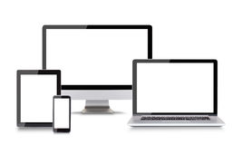 Modern electronic devices on white background Royalty Free Stock Photos