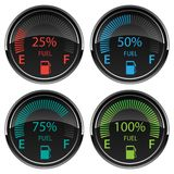 Modern Electronic Digital Car Gas Fuel Gauges Vector Illustration. Very sharp modern digital automotive style gasoline fuel dashboard gauge indicators, in red vector illustration