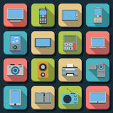 Modern electronic flat vector icons Royalty Free Stock Photography