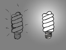 Modern electronic spiral bulb Royalty Free Stock Photo