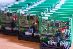 Modern Electronics Ideas. Closeup of Lot of Electronic Printed Circuits