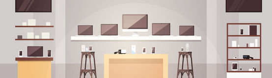Modern Electronics Store Shop Interior Banner with Copy Space. Vector Illustration royalty free illustration