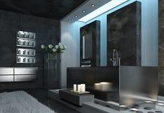 Modern Elegant Architectural Gray Bathroom Design Royalty Free Stock Photos